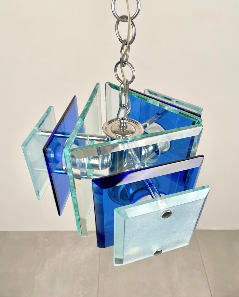 Italian Lupi Cristal Luxor Blue Glass and Chrome Chandelier, Italy, 1970s For Sale