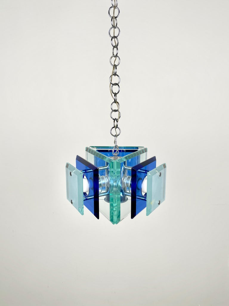Lupi Cristal Luxor Blue Glass and Chrome Chandelier, Italy, 1970s In Good Condition For Sale In Rome, IT