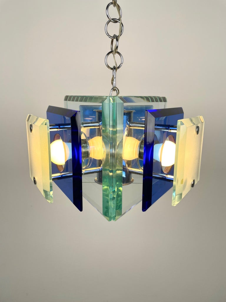 Late 20th Century Lupi Cristal Luxor Blue Glass and Chrome Chandelier, Italy, 1970s For Sale