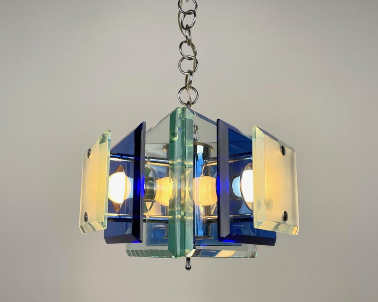 Lupi Cristal Luxor Blue Glass and Chrome Chandelier, Italy, 1970s For Sale 1