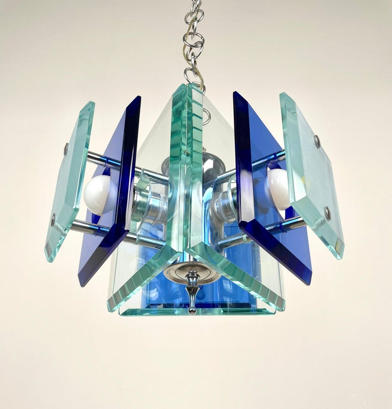 Lupi Cristal Luxor Blue Glass and Chrome Chandelier, Italy, 1970s For Sale 2