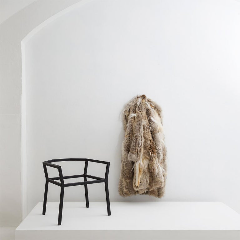 Modern Lupo Chair with Steel Chair Frame and Fur Coat Seat by Atelier Von Pelt For Sale