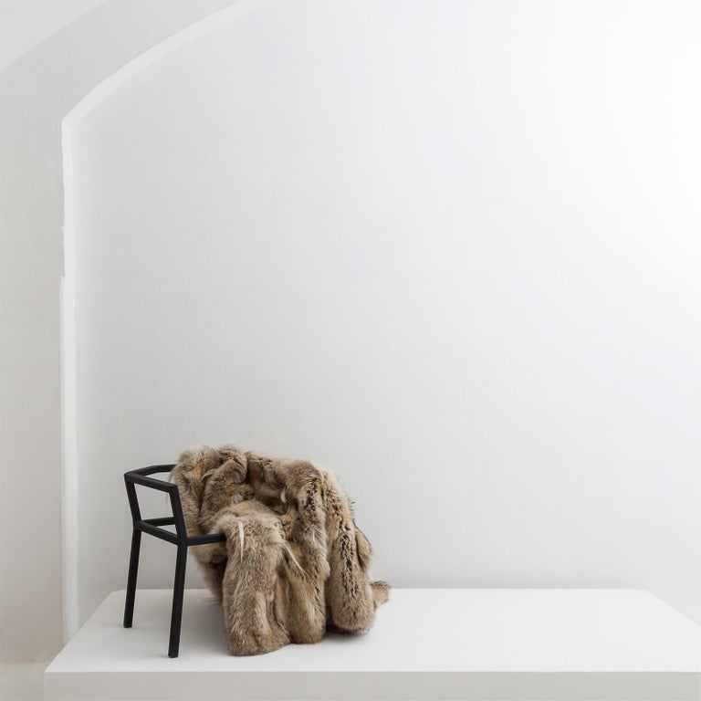 Lupo Chair with Steel Chair Frame and Fur Coat Seat by Atelier Von Pelt In New Condition For Sale In Milan, IT