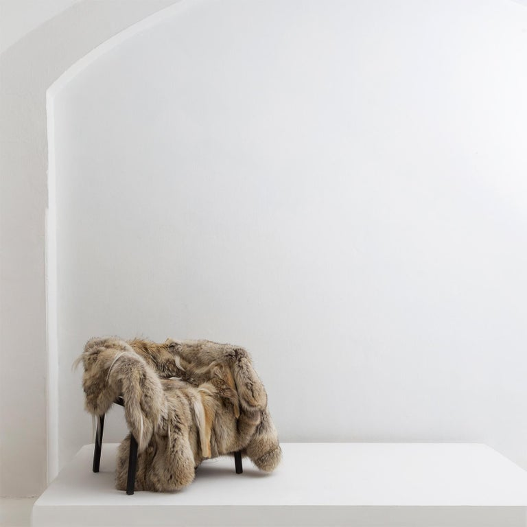 Contemporary Lupo Chair with Steel Chair Frame and Fur Coat Seat by Atelier Von Pelt For Sale