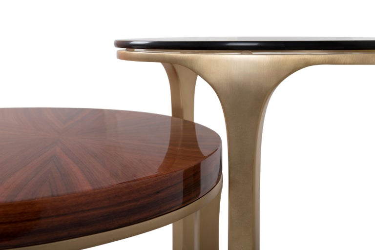 Contemporary Luray Side Table with Wood and Glass Tops For Sale
