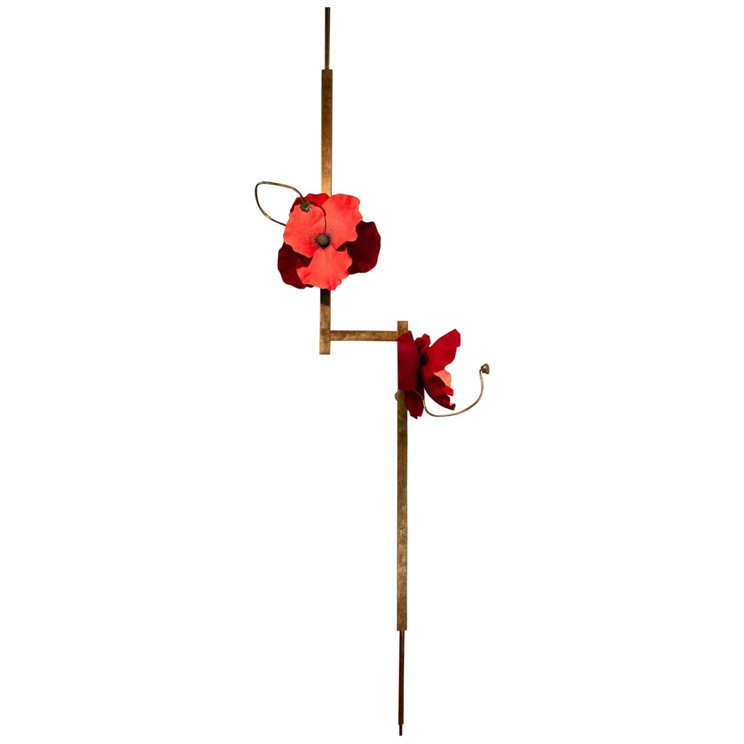 Lure Post with Red Poppies in Mottled Brass by Pelle