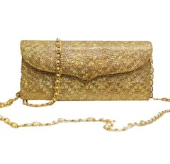 Luscious Lana Marks Gold Glitter Clutch with Gold Tone and Faux Pearl Chain