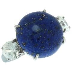 Gemjunky Luscious Lapis Lazuli and Glittering Zircon Gemjunky Ring