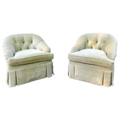 Luscious Pair of Vintage Pale Green Chenille Club Chairs