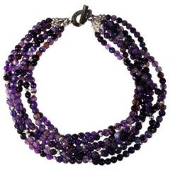 Luscious Purple Multi-Strand Choker Necklace