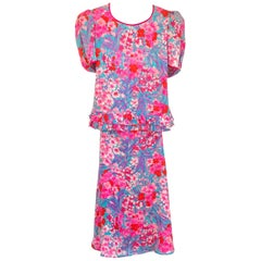Lush Floral Printed Silk Jacquard Ensemble Set - new with tag