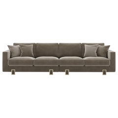 Luso Large Sofa Upholstered in Fabric with Safety Velvet Piping Details