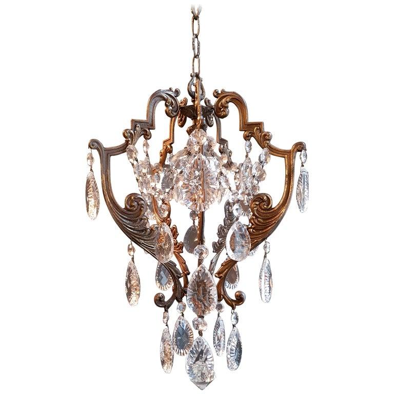 Ré Cage Chandelier Crystal Ceiling Lamp Hall Re Antique Art Nouveau