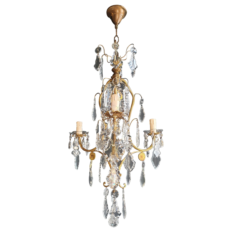 Lustré Cage Chandelier Crystal Ceiling Lamp Hall Lustre Antique Art Nouveau