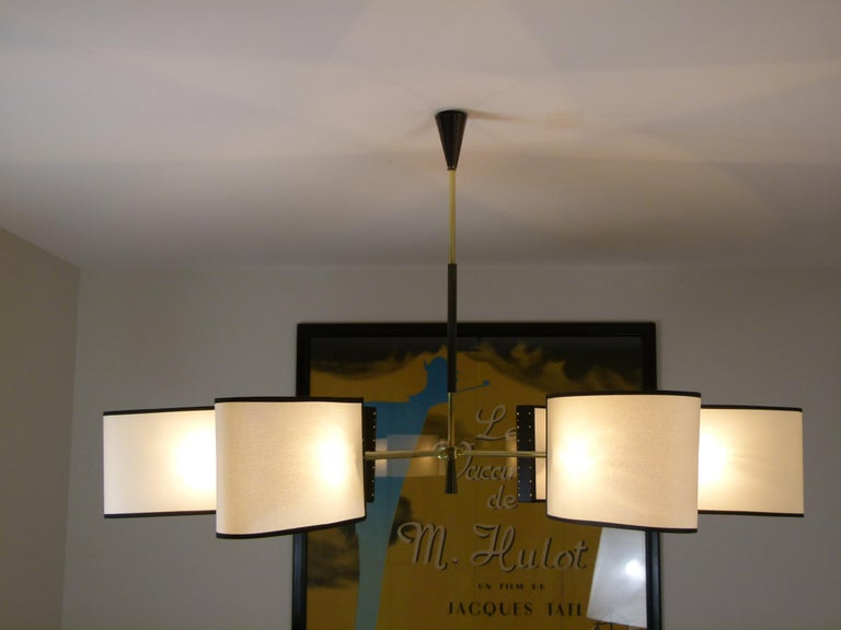 1950s Circular Chandelier With Six Arms Of Light by Maison Lunel For Sale 4