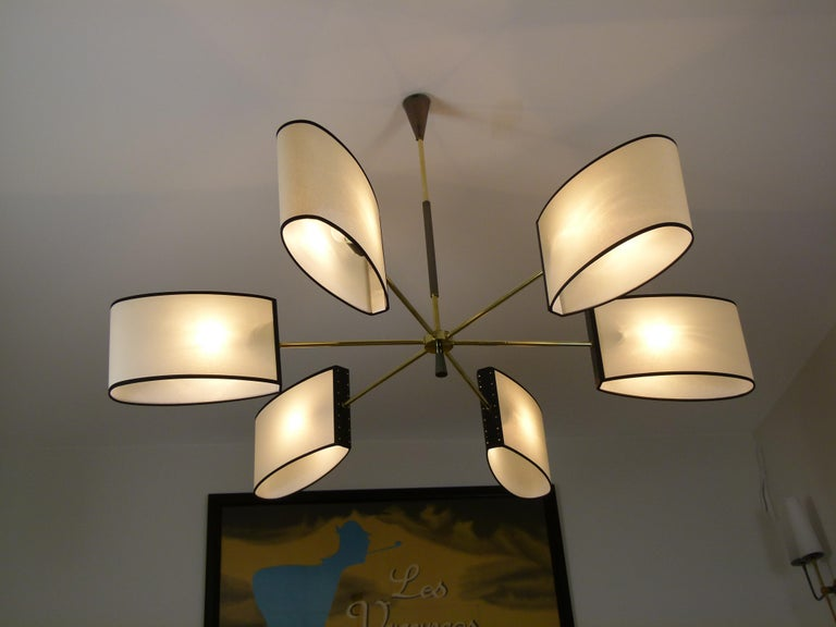 1950s Circular Chandelier With Six Arms Of Light by Maison Lunel For Sale 5