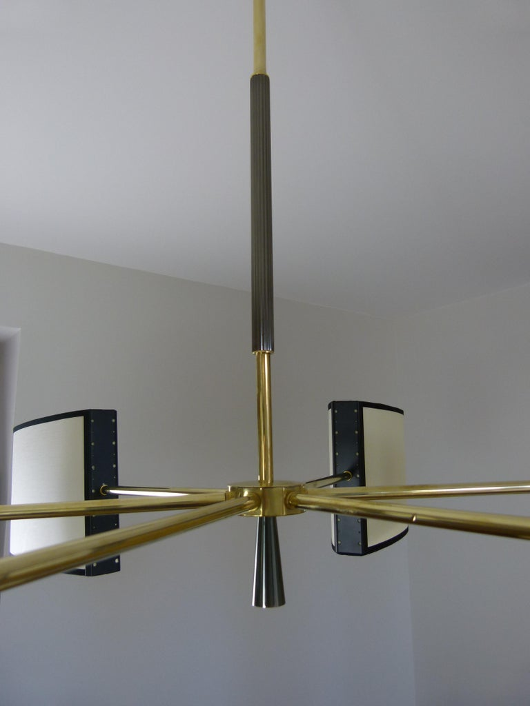 1950s Circular Chandelier With Six Arms Of Light by Maison Lunel For Sale 6