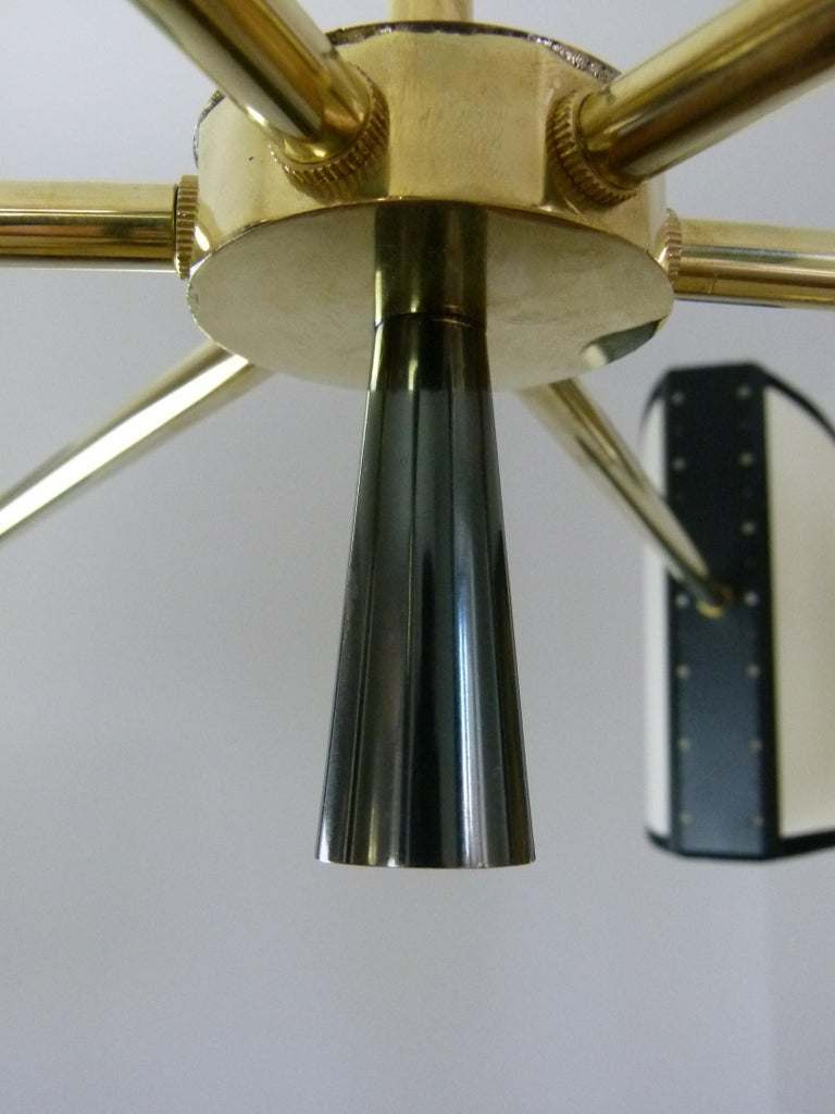 1950s Circular Chandelier With Six Arms Of Light by Maison Lunel For Sale 9