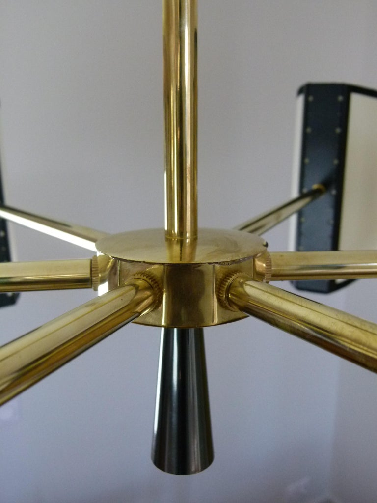 1950s Circular Chandelier With Six Arms Of Light by Maison Lunel For Sale 10
