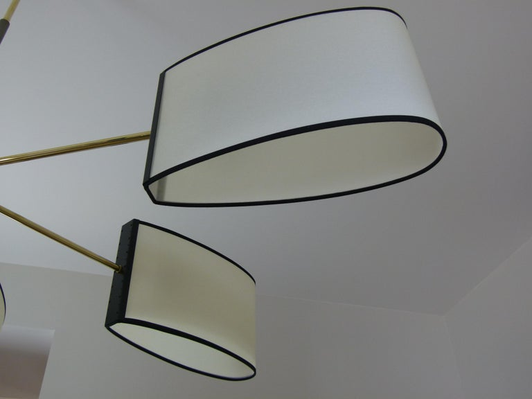 1950s Circular Chandelier With Six Arms Of Light by Maison Lunel For Sale 13