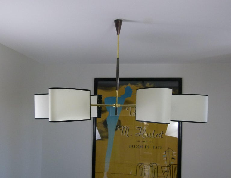 Mid-Century Modern 1950s Circular Chandelier With Six Arms Of Light by Maison Lunel For Sale