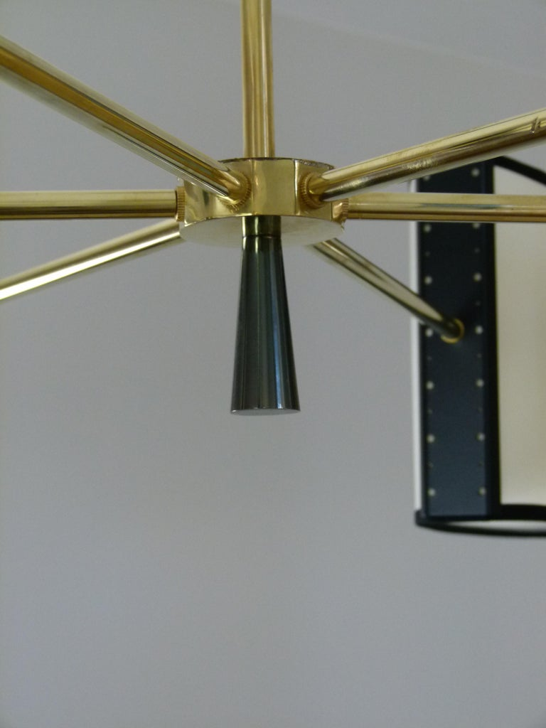 French 1950s Circular Chandelier With Six Arms Of Light by Maison Lunel For Sale