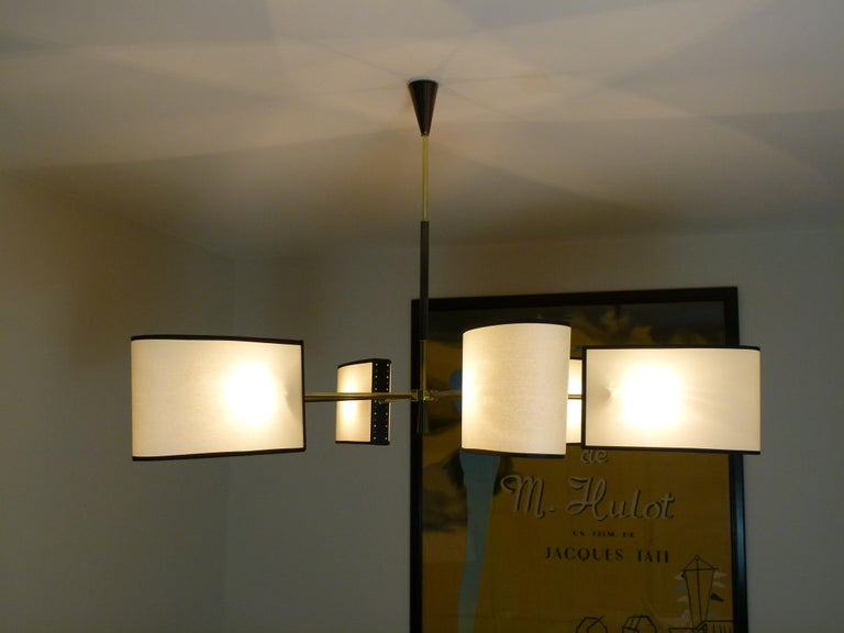 20th Century 1950s Circular Chandelier With Six Arms Of Light by Maison Lunel For Sale