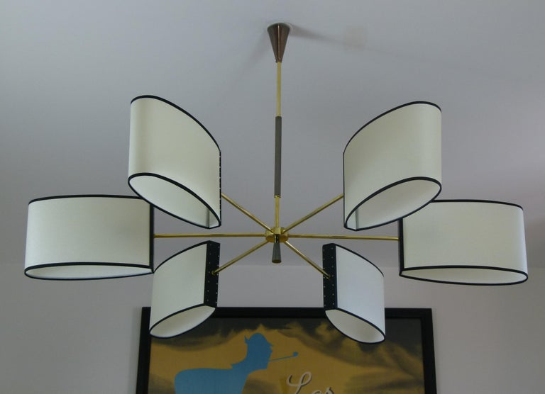 1950s Circular Chandelier With Six Arms Of Light by Maison Lunel For Sale 1