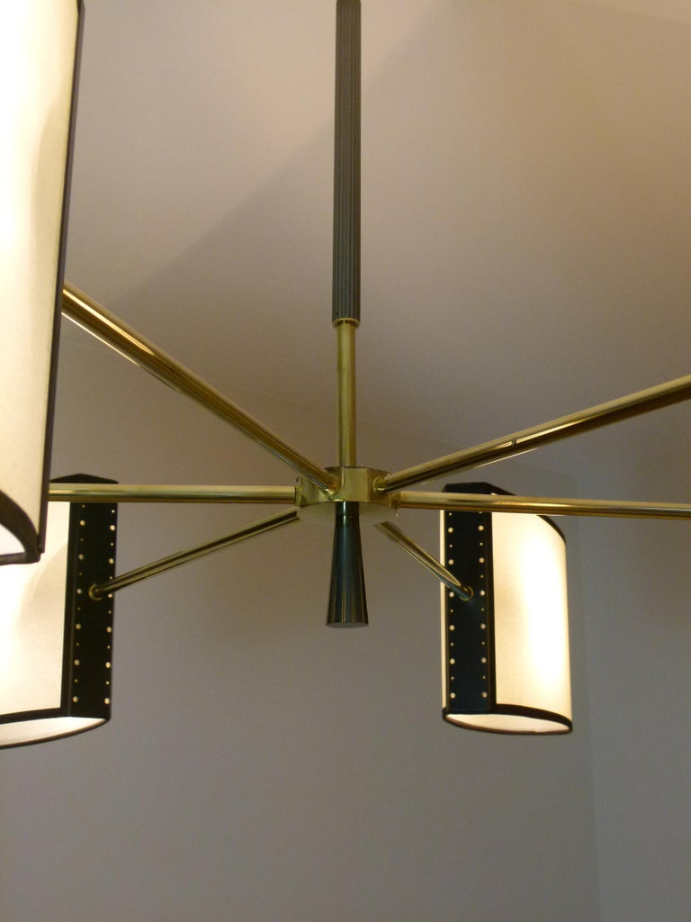 1950s Circular Chandelier With Six Arms Of Light by Maison Lunel For Sale 2