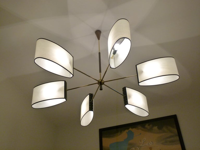 1950s Circular Chandelier With Six Arms Of Light by Maison Lunel For Sale 3