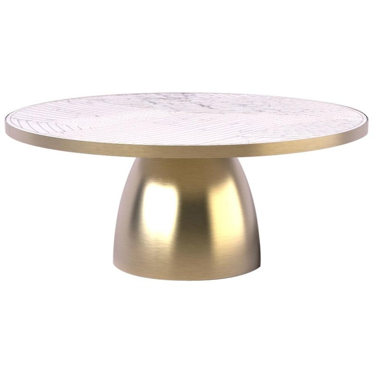 Bethan Gray Lustre Dhow Coffee Table in White and Brass For Sale