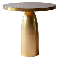 Bethan Gray Lustre Dhow Side Table White and Brass