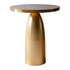 Bethan Gray Small Lustre Dhow Side Table in White and Brass