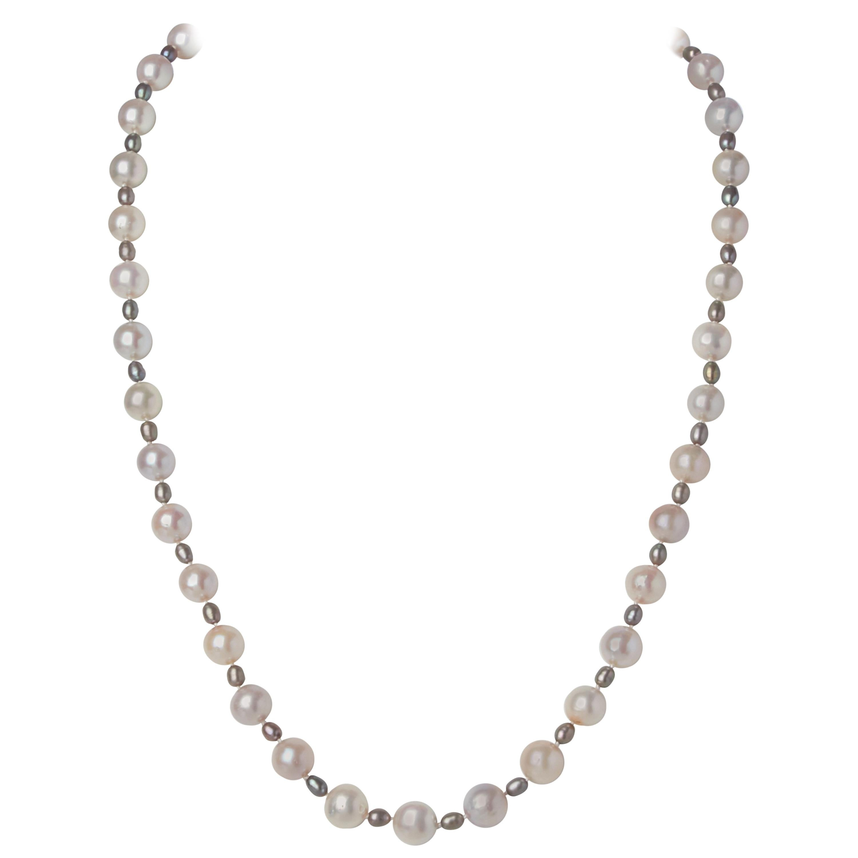 White Gray Akoya Pearl Necklace w Sterling Silver & White Sapphire Clasp