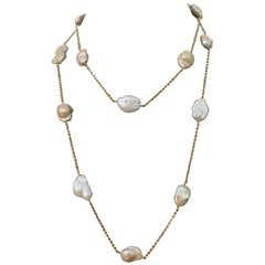Lustrous Keishi Pearl Station Vermeil Necklace 48""