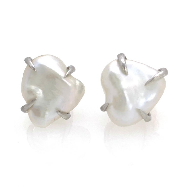Modern Lustrous Pair of 13mm White Baroque Pearl Stud Earrings For Sale
