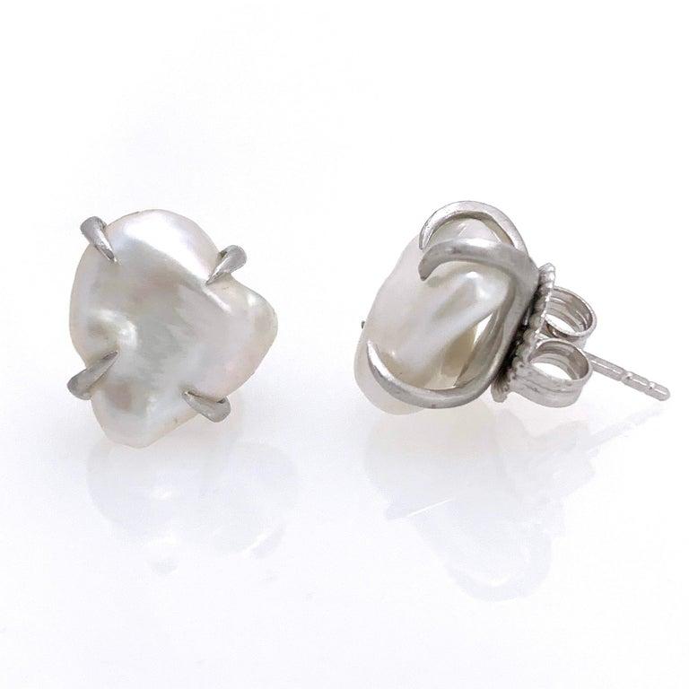 Uncut Lustrous Pair of 13mm White Baroque Pearl Stud Earrings For Sale