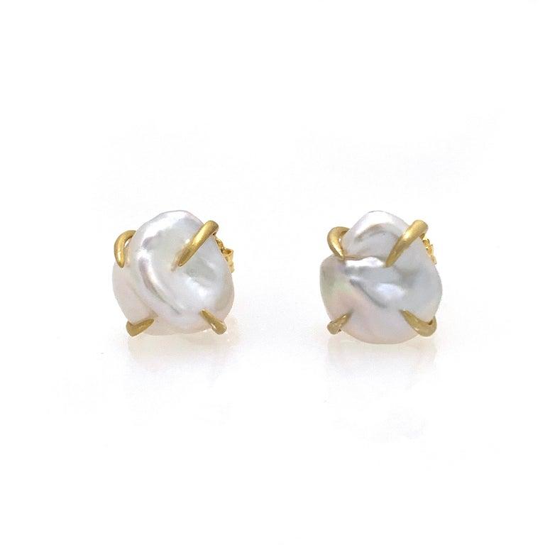Modern Lustrous Pair of 13mm White Baroque Pearl Vermeil Stud Earrings For Sale