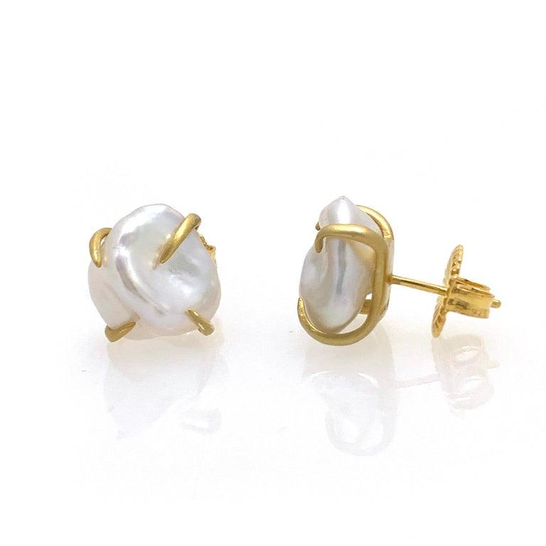 Uncut Lustrous Pair of 13mm White Baroque Pearl Vermeil Stud Earrings For Sale
