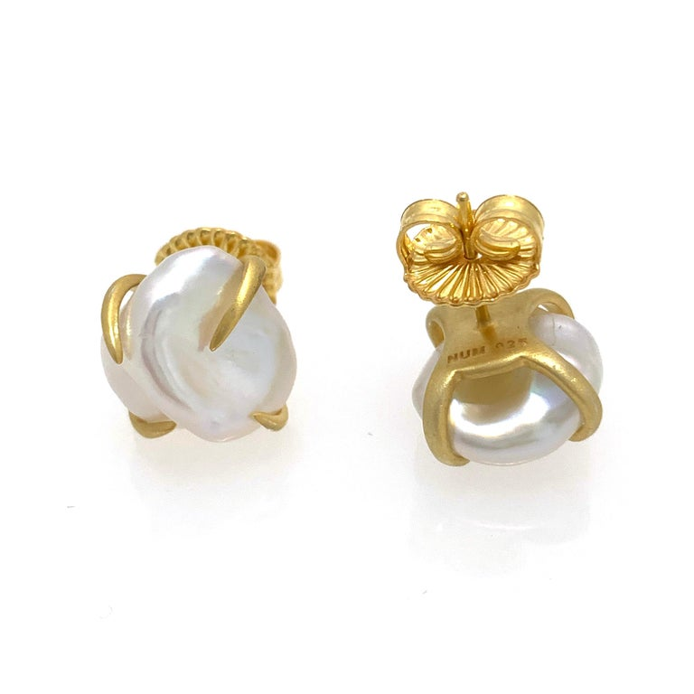 Lustrous Pair of 13mm White Baroque Pearl Vermeil Stud Earrings In New Condition For Sale In Los Angeles, CA