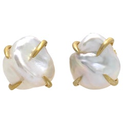 Lustrous Pair of 13mm White Baroque Pearl Vermeil Stud Earrings