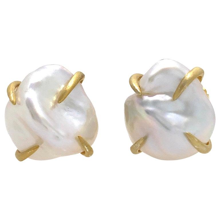Lustrous Pair of 13mm White Baroque Pearl Vermeil Stud Earrings For Sale