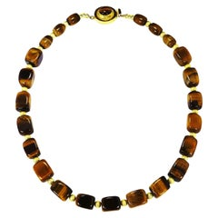 Lustrous Tiger's Eye Cube Necklace