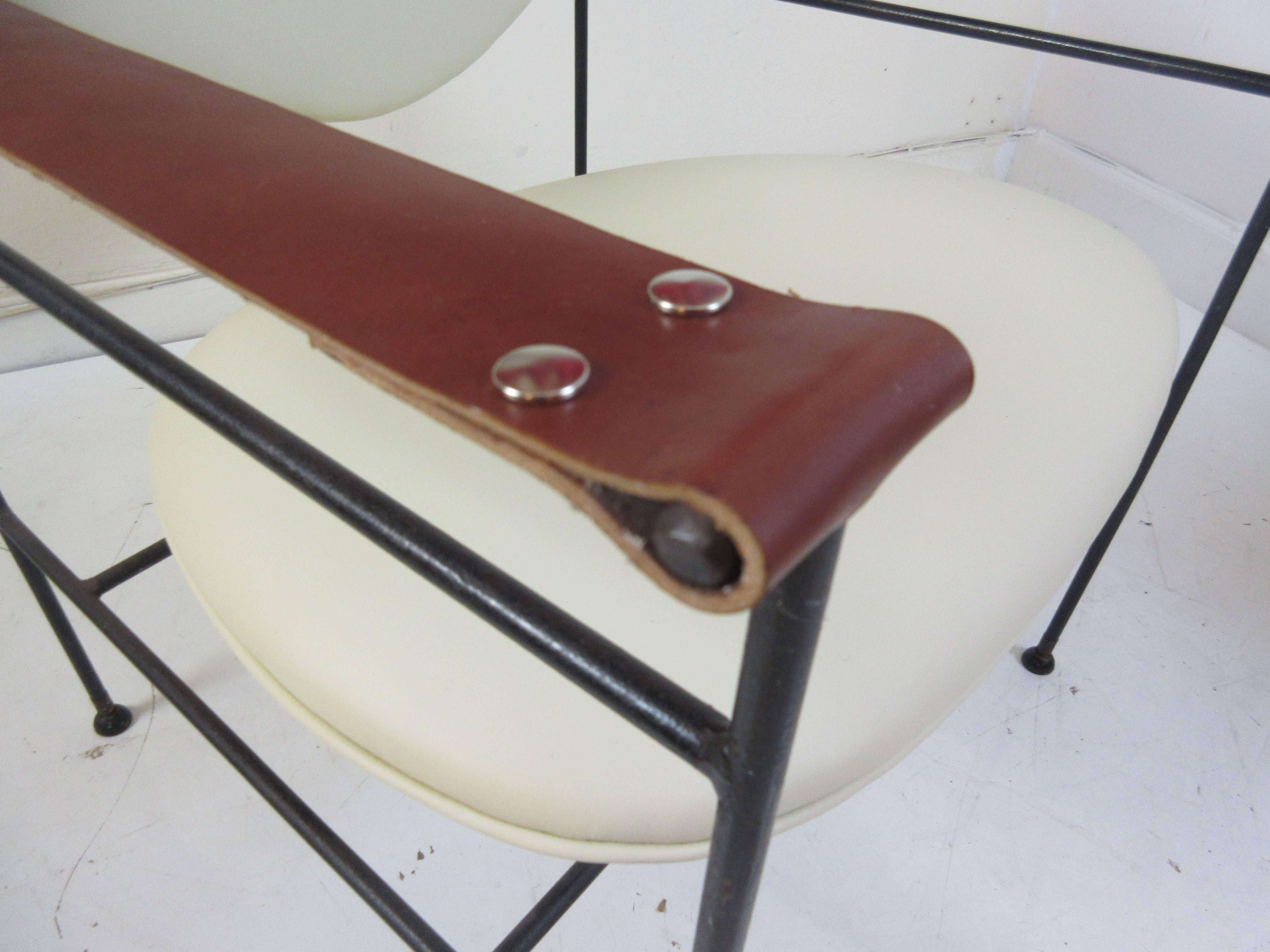 Luther Conover Leather Chair with Strap Arms on Wrought Iron Frame