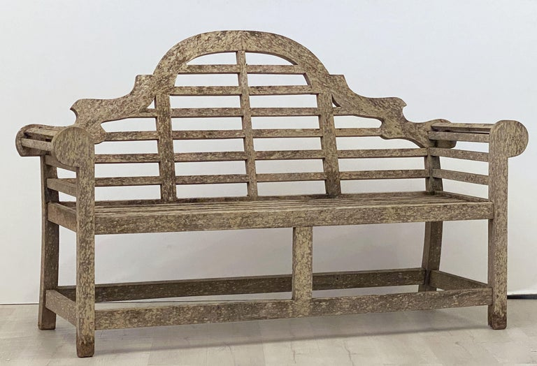 20th Century Lutyens Style Teak Garden Bench Seat from England For Sale