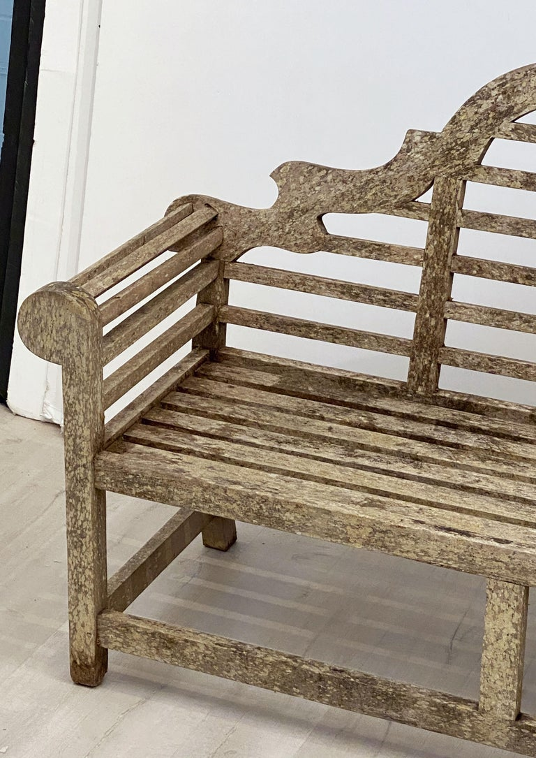 Wood Lutyens Style Teak Garden Bench Seat from England For Sale