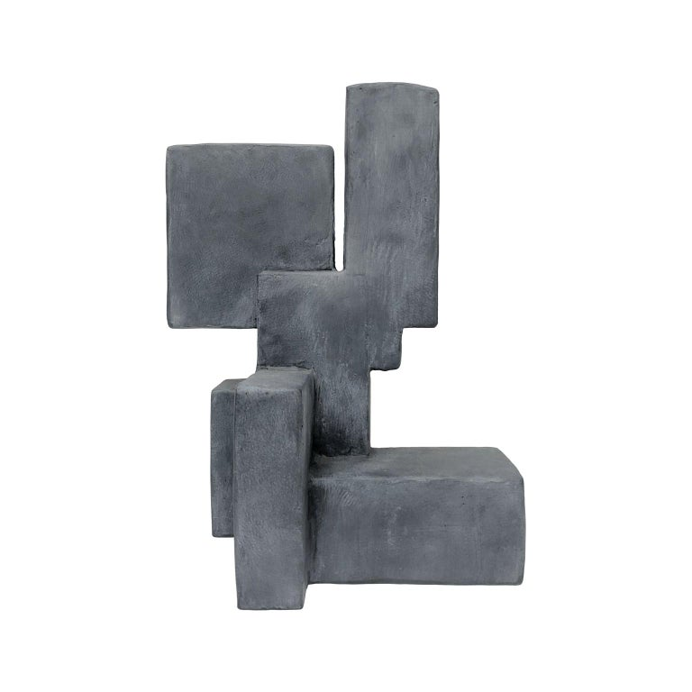 """Luuk"" Mixed-Media Table Top Sculpture in Grey Finish by Dan Schneiger For Sale"