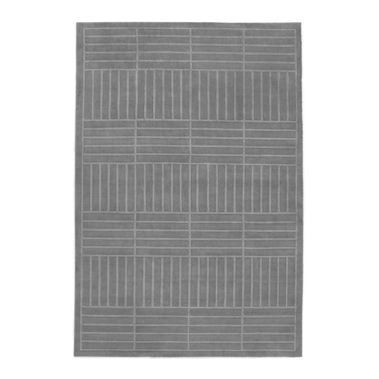 Lux 1 Gray, Wool Cut Pile Rug in Scandinavian Design For Sale