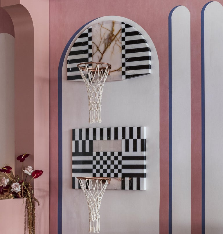 Contemporary Lux Mini Hoops by MONIOMI, Round Hand-Crafted Marble Basketball Hoop For Sale