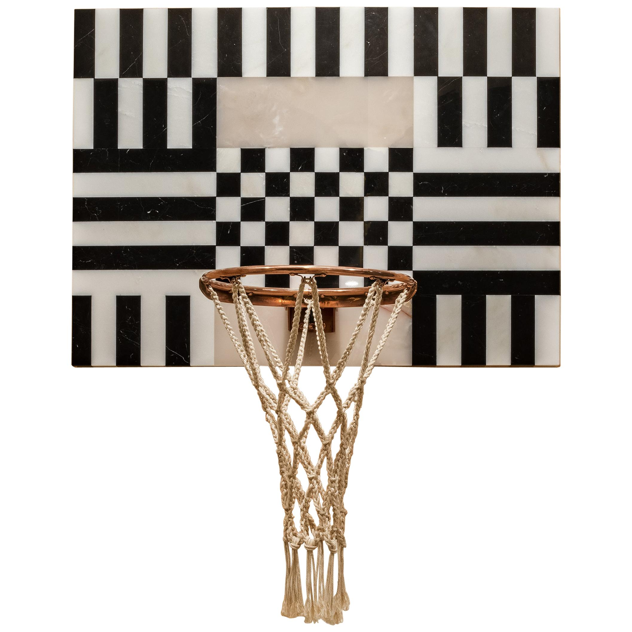 Lux Mini Hoops by Moniomi, Square Hand-Crafted Marble Basketball Hoop
